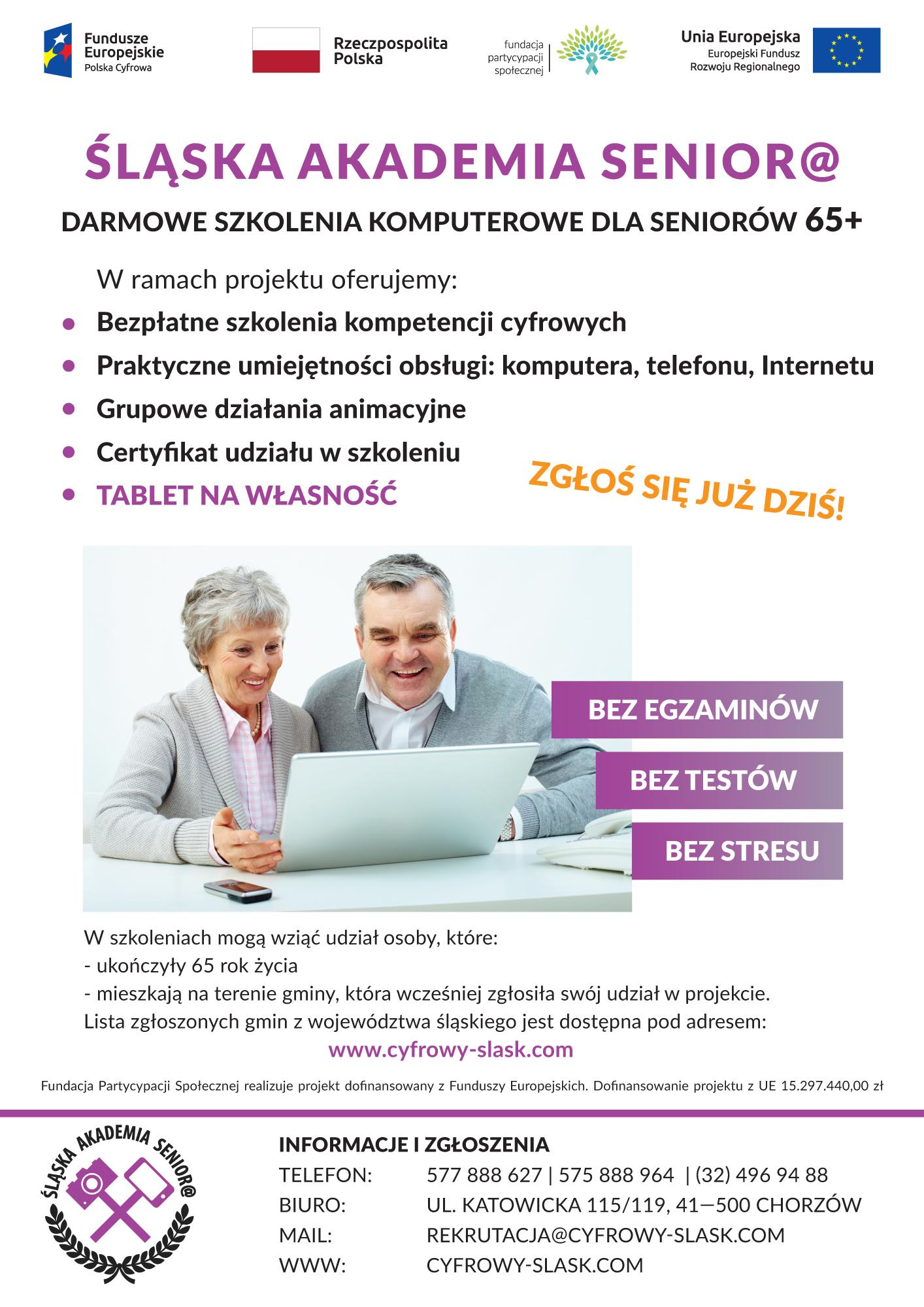 """Szkolenia w ramach projektu """"Śląska Akademia Senior"""""""